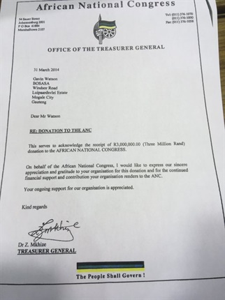 "<p><strong>ICYMI:</strong> Here is a copy of the letter in which former ANC treasurer general Zweli Mkhize thanks Bosasa boss Gavin Watson for his company's 'ongoing support'.</p><p>On Thursday, DA leader Mmusi Maimane handed a copy of Mkhize's letter to President Cyril Ramaphosa in Parliament, asking him what Mkhize meant by the ""continued financial support"" from Bosasa.&nbsp;</p>"