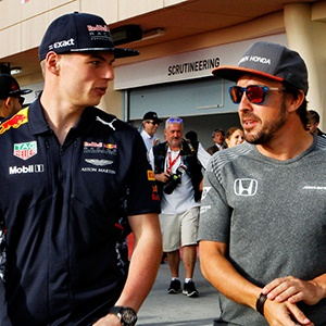 Max Verstappen and Fernando Alonso (Supplied)
