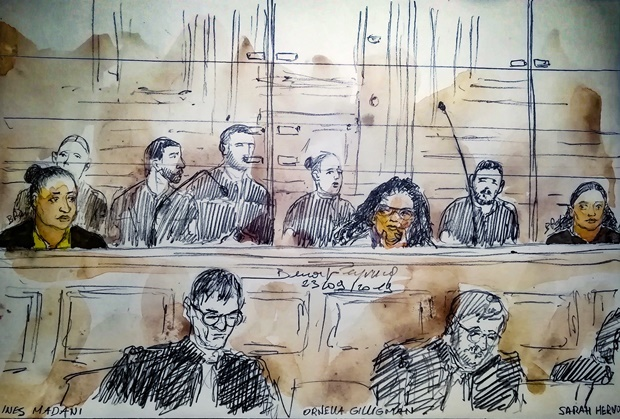 This court sketch made on September 23, 2019 in Pa