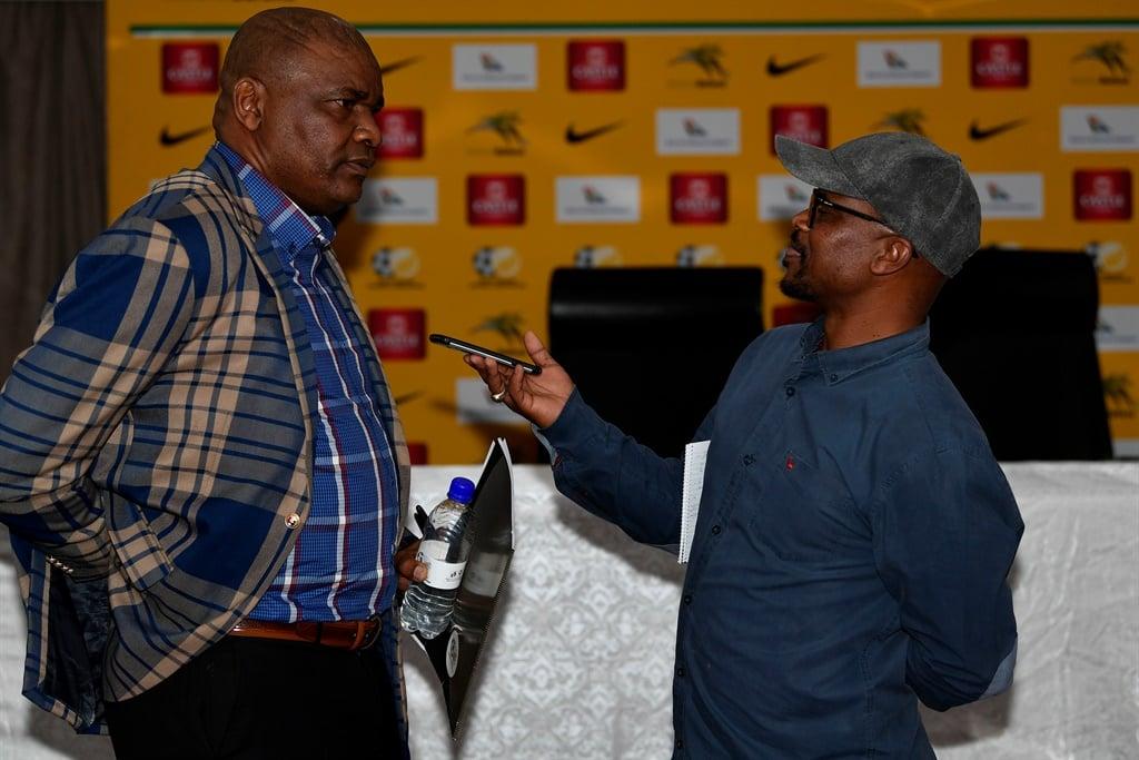 Molefi Ntseki as the interim coach of Bafana Bafana and City Press Journalist Daniel Mothowagae during the South African National Football squad announcement. Picture: Lefty Shivambu/Gallo Images