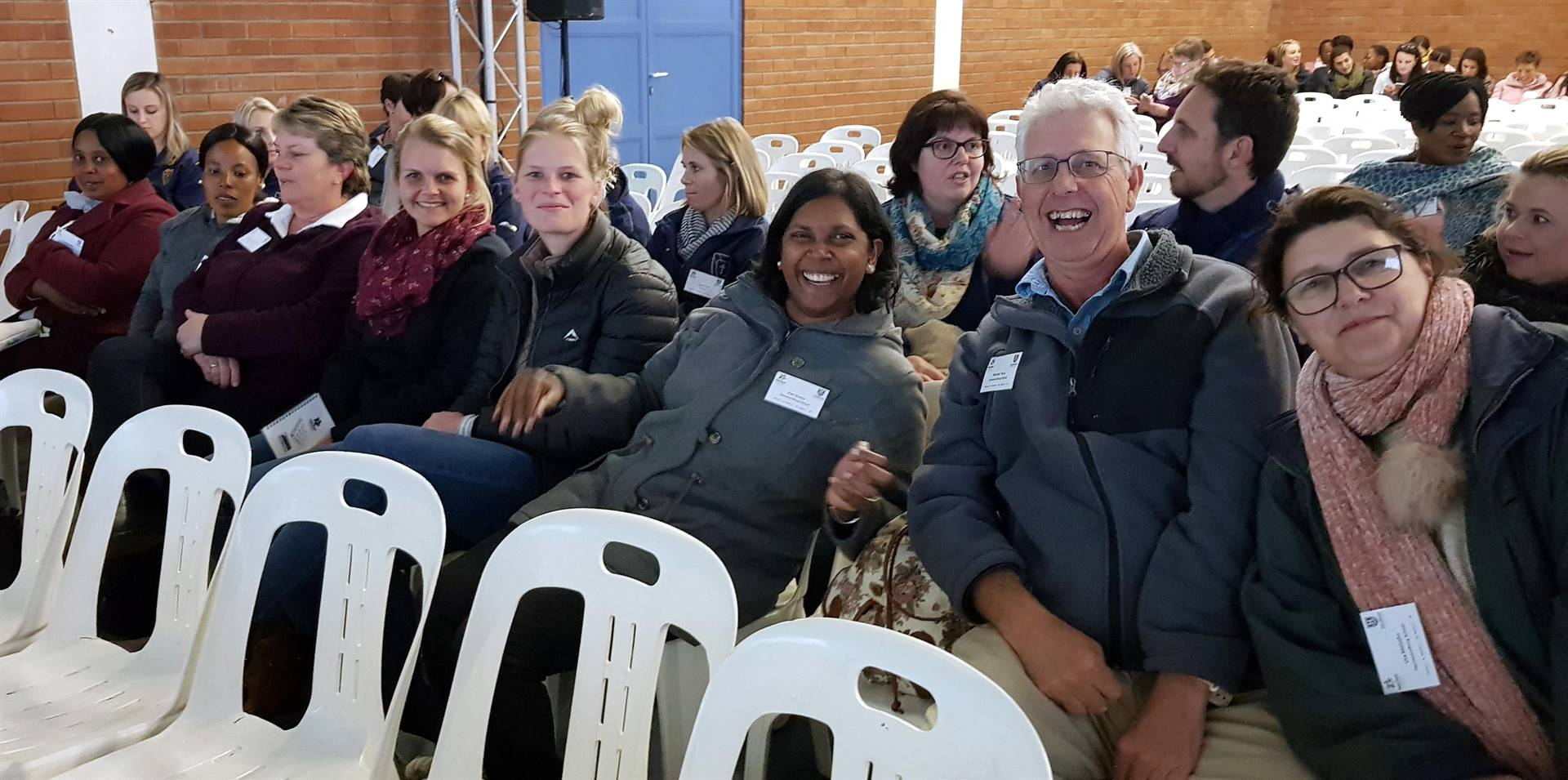 PHOTO: suppliedHermannsburg teachers (front, from left)Thembani Mzila, Ntokozo Zondi, Angelique van Rooyen, Monika Brüggemann, Ilse Ortmann, Pavini Chetty, Michael Terry and Uta Malzahn, led by Sonja Terry (who took the photo), 'reserved' their seats early at the recent Proudly Primary Conference.