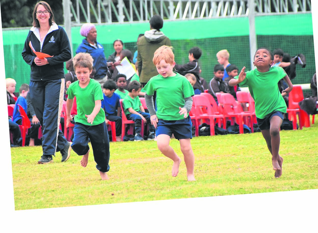 Cordwalles Preparatory School pupils giving it their all during the Junior Athletics Day. Photographed racing down the straight as fast as they can are (from left) Jordan Goosen, William Riley and Langelihle Sabelo.PHOTO: supplied