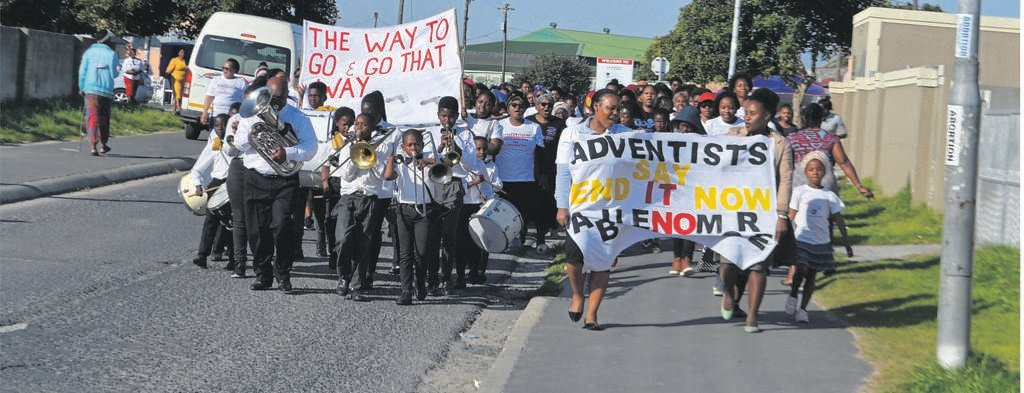 Members of Women's Ministry and their band marched on the streets of Gugulethu to raise awareness against abuse. PHOTO: UNATHI OBOSE