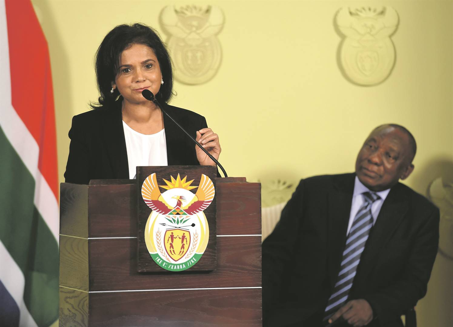 Advocate Shamila Batohi and President Cyril Ramaphosa at the announcement of her appointment.