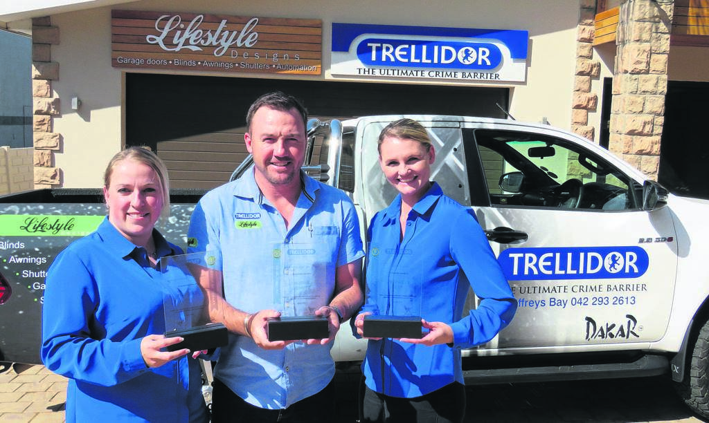 WINNING TEAM: With the awards are Nicky Wiese (Franchise with the highest order intake for Security Shutters in the country), owner Morné Schutz (overall Salesman of the Year) and Cindy Jansen van Rensburg (Franchise of the Year).                                         Photo:SUPPLIED