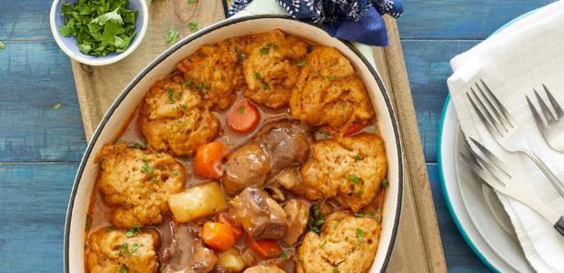 Beef stew with herb dumplings