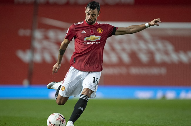 Bruno Fernandes of Manchester United in action during the Premier League match between Manchester United and Arsenal at Old Trafford on November 1, 2020 in Manchester, United Kingdom. Sporting stadiums around the UK remain under strict restrictions due to the Coronavirus Pandemic as Government social distancing laws prohibit fans inside venues resulting in games being played behind closed doors.