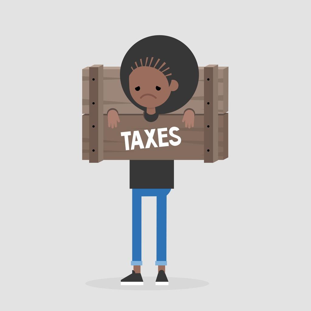 Paying taxes, conceptual illustration. Young unhap