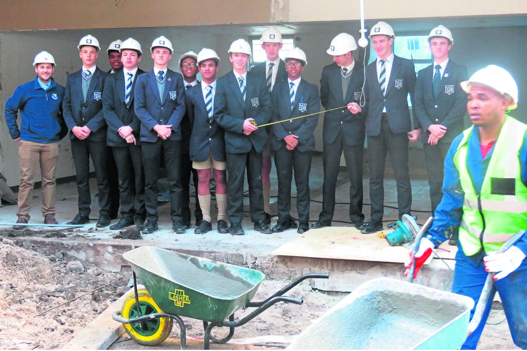 Wynberg Boys' High School learners at the construction site of the school's new Engineering and Design Faculty. PHOTO: Chris Merrington