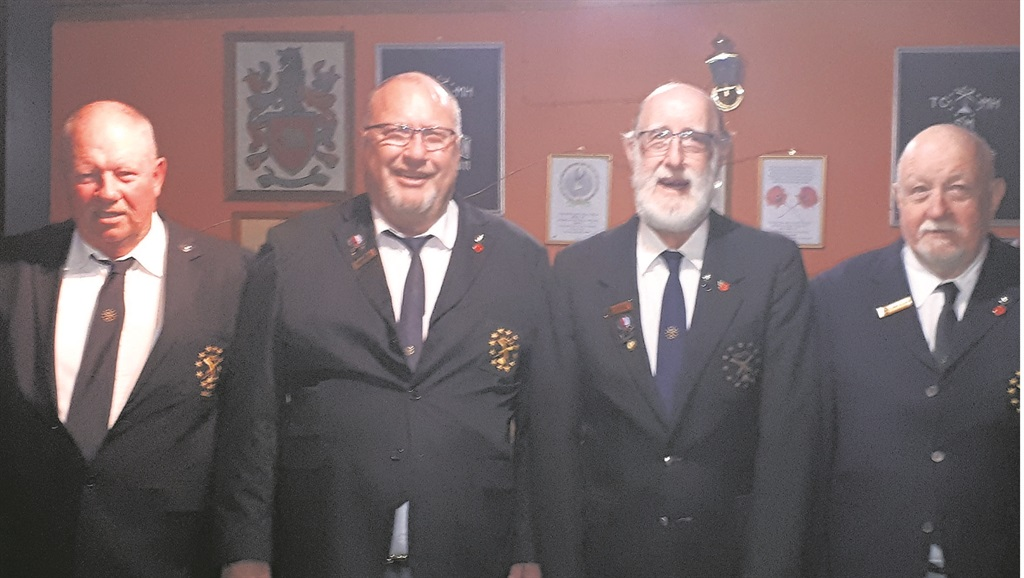 Celebrating their election to the executive committee is (from left) Schalk Jacobsz (AGJ), George Du Toit (Old Bill of the Shellhole), Rob Lee (Wee Bill), and Mike Allen (Pay Bill). photo: supplied