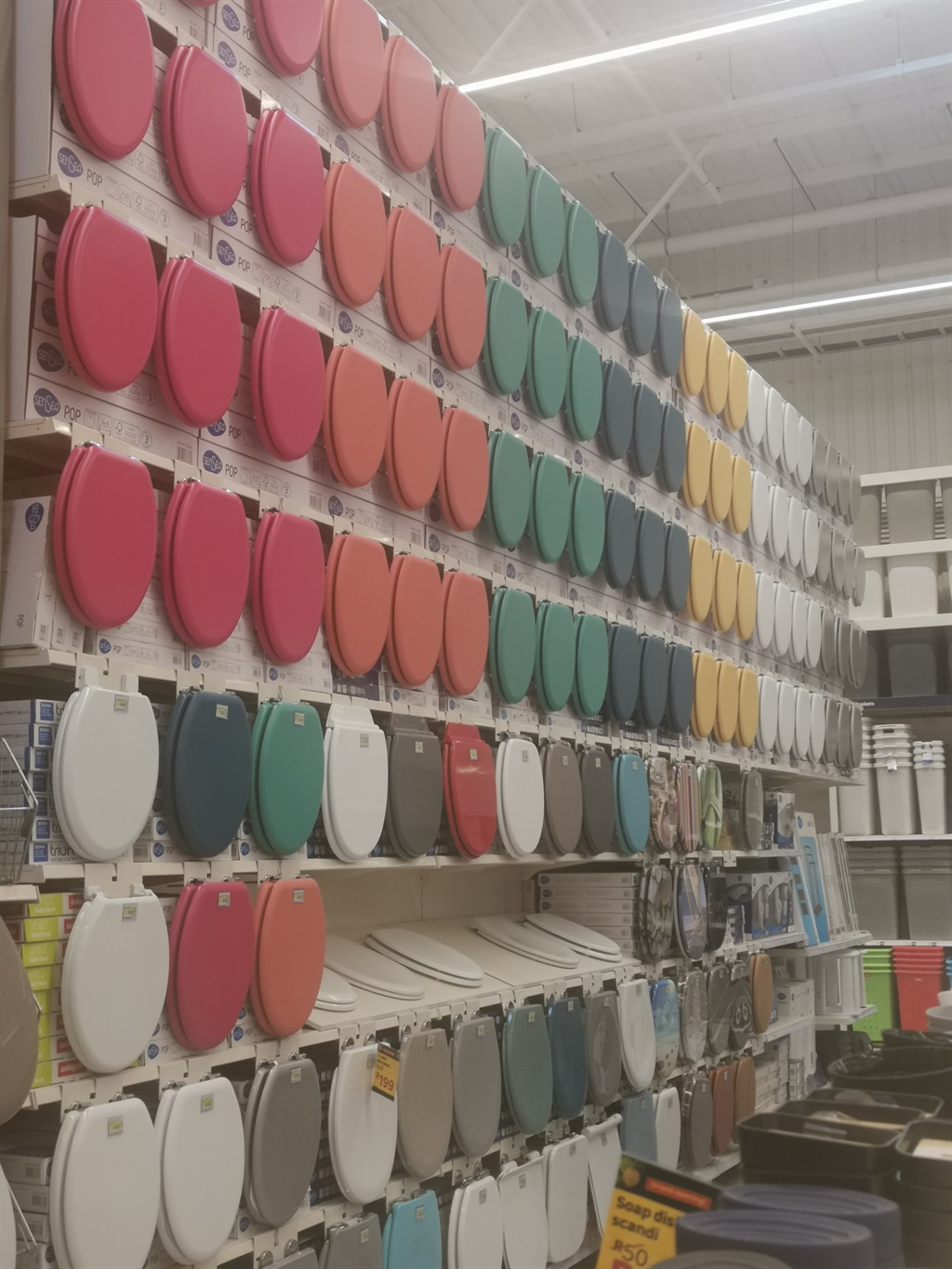 The range of toilet seats available at the new Leroy Merlin store Picture: Dumisane Lubisi