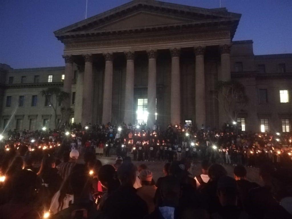 A night vigil held for Uyinene Mrwetyana at Wits University. (Azarrah Karrim/News24)