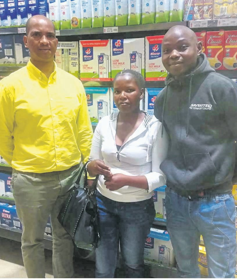 At the official handover were (from left) Gift Majola (Echo), Sthembile Hlela and Skhumbuzo Nxele (Saverite).PHOTO: supplied