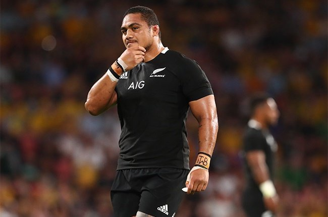 Ofa Tu'ungafasi of the All Blacks is sent off during the Tri-Nations match against the Wallabies in Brisbane on 7 November 2020.