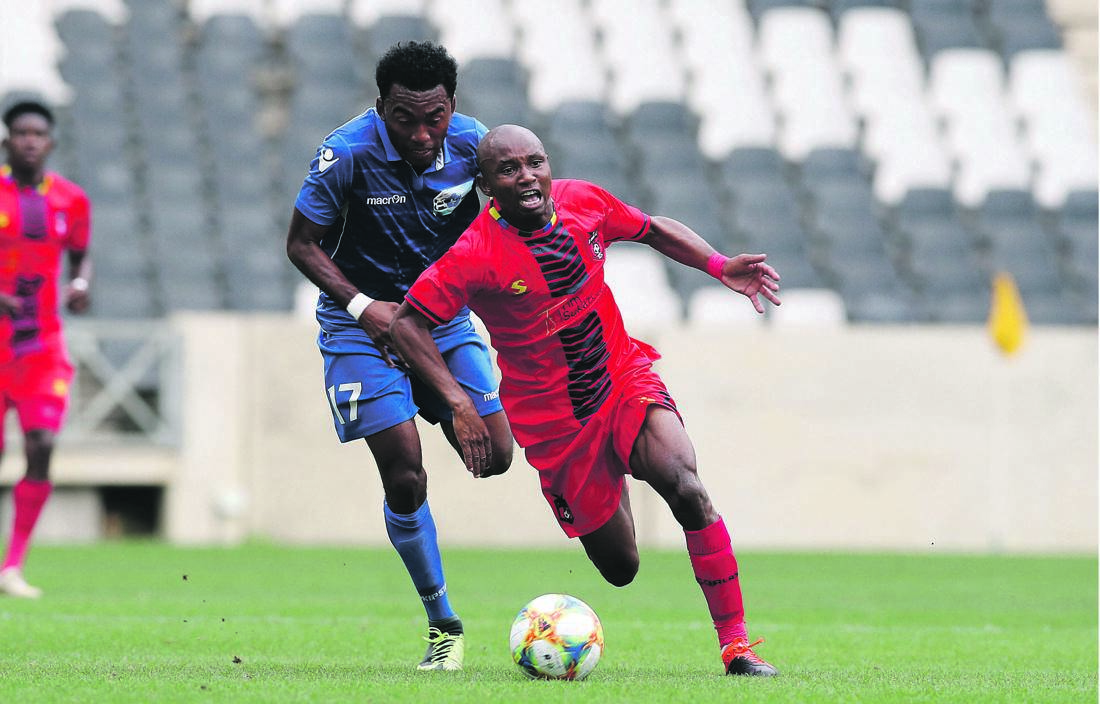 TS Galaxy talisman Sanele Barns is ready to help his overachieving side into the second round of the CAF Confederation Cup. Their opponents will be revealed this week Picture: Samuel Shivambu   / BackpagePix
