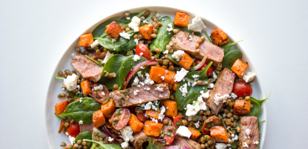 Seared beef, lentil and sweet potato salad