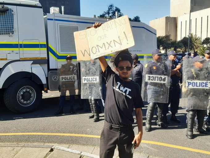 An anti-femicide protester in Cape Town. (Tammy Petersen, News24)