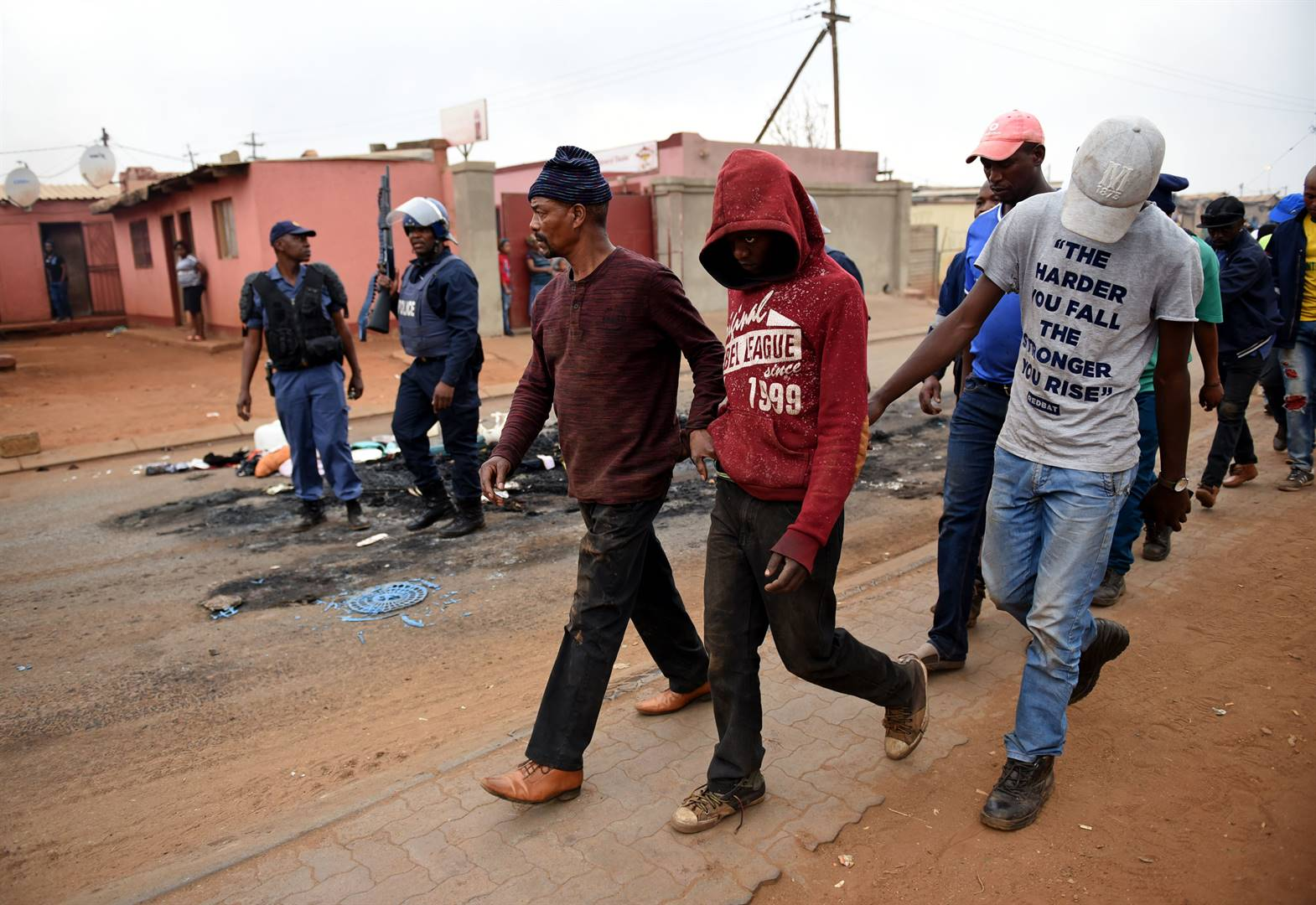 Police arrest some of the alleged ring leaders in the violent attacks on foreign nationals in Katlehong. Picture: Tebogo Letsie/City Press
