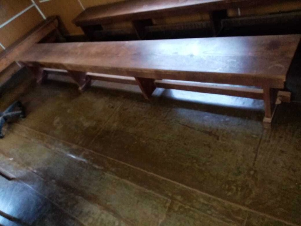 Shoddy benches in makeshift courtroom