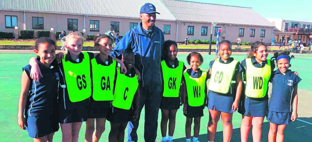 Kabega Primary School u/13A and u/10A Netball teams and their u/13A rugby team went on a tour to George on August 30 and 31 to compete against various schools. From left are netball girls, Xakeena Mcquinto, Kihanna Nell, Chante Strydom, Lumi Liwela, Andrew Jonas (school principal), Daluxolo Mguga, Olwami Mnqundaniso, Olwethu Tempi, Durham Jooste and Morgan Fritz.                           Photo:SUPPLIED