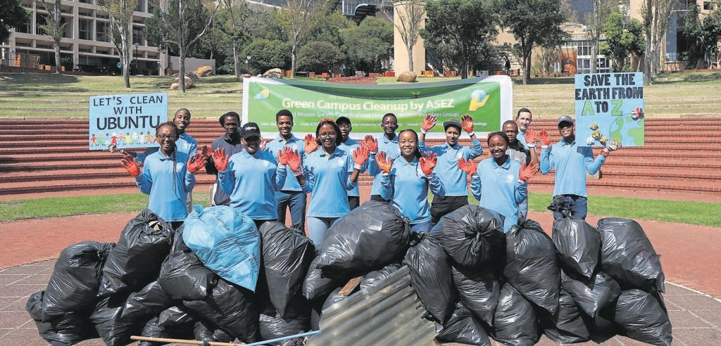 The Asez Green Campus clean-up at CPUT on 31 March. The university volunteer group forms part of the World Mission Society Church of God.
