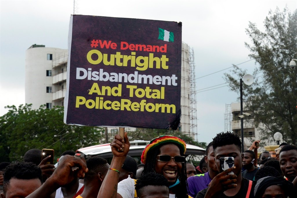 EndSARS protesters occupy Lagos State House of Assembly, Alausa, Ikeja, Lagos, Nigeria.