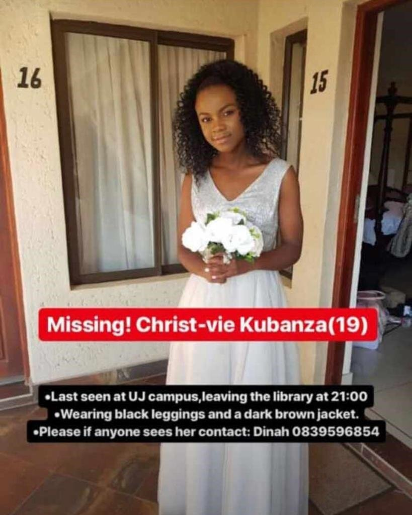 Christ-vie Kubanza was last seen outside the University of Johannesburg library at about 9pm on Friday. (Supplied)