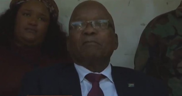 Zuma looks on as speaker addresses the issue of support for the former president