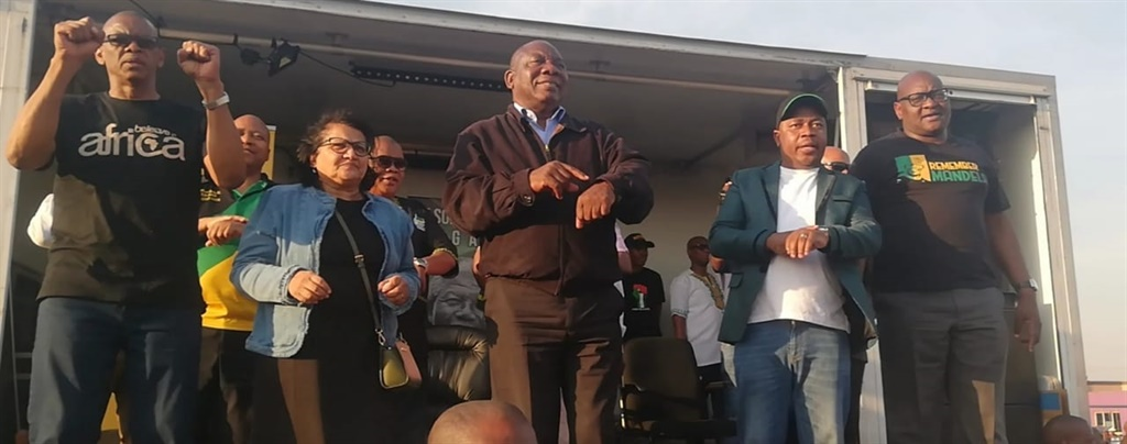 President Cyril Ramaphosa addresses the community of Katlehong, Johannesburg.