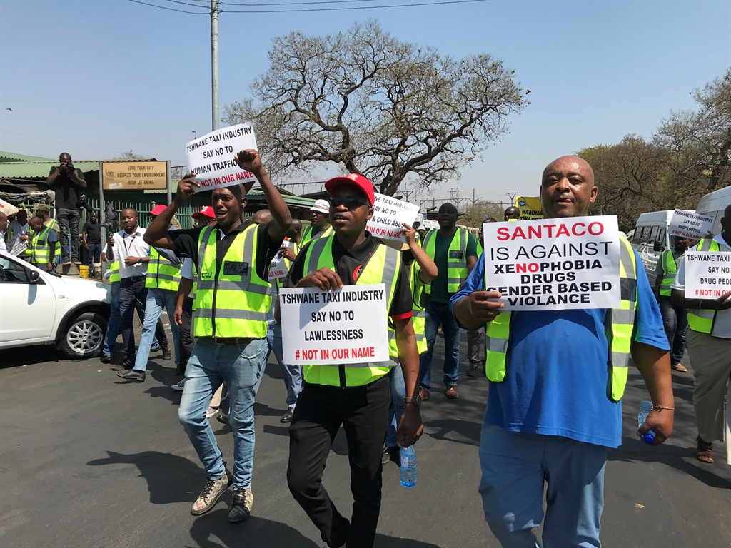 Taxi associations led a demonstration against xenophobia, gender-based violence and drugs through Tshwane CBD. (Alex Mitchley/News24)