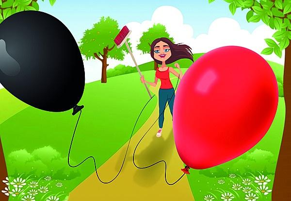 ballonne in die wind, illustrasie deur Michael de
