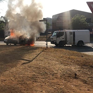Police are searching for 16 armed men who attacked a cash-in-transit van in Pretoria on Tuesday.