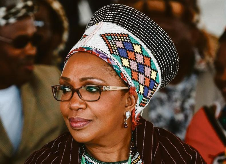 The late Queen Mantfombi Dlamini Zulu attends the festival of ' Zulu 200' celebrating the existence of the Zulu Nation at the King Shaka International airport in Durban on September 22, 2013.