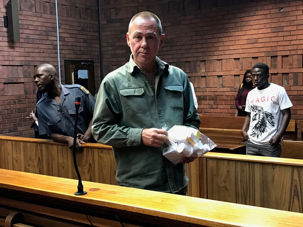 Mossie Mostert appears in the Pretoria Magistrate's Court on charges of attempted robbery and terrorism. (Alex Mitchley, News24)