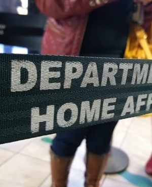 Queuing at the Department of Home Affairs.