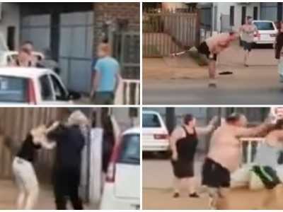 A dramatic video in which punches are traded, people pull each other's hair and expletives fly, had people talking this week (Photo: Twitter)
