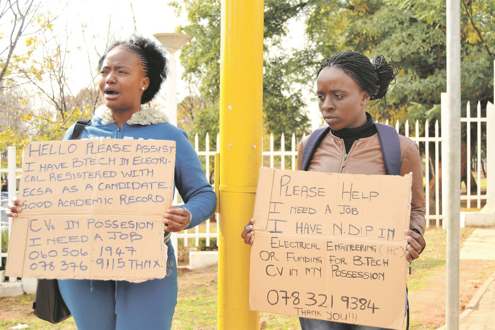 Manese Dlamini and Nelisiwe Makhubu have taken to begging for jobs. Corporate SA can help them and others by offering internships and work experience stints to get experience. Picture: Tebogo Mokwena