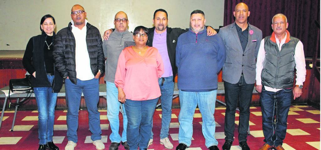 The newly–elected committee members whom a number of them were elected unopposed are (from left) Amanda Le Roux (additional member), Samir Jacobs (additional member), Saleem Orrie (vice chairperson), Colleen October (secretary), Naser Ally (chairperson), Jonathan Carelse (additional member), Anthony Moses (ward 44 councillor) and Mohd Shana (treasurer). PHOTO: SIPHESIHLE NOTWABAZA