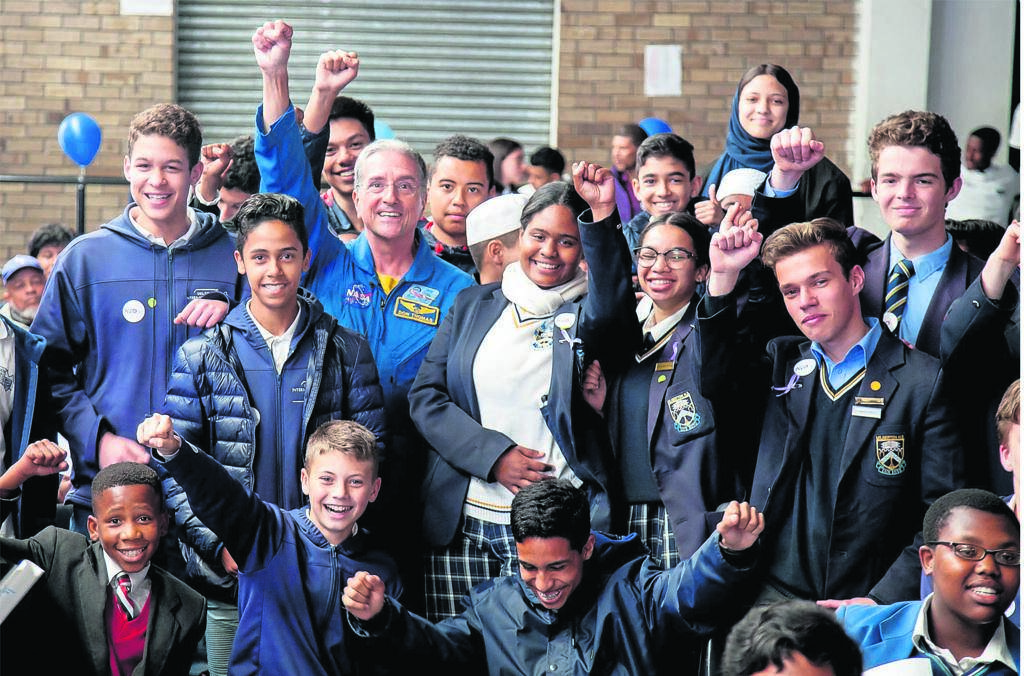 Former Nasa astronaut, Dr Don Thomas, with some of the learners who attended his talk given at Cape Academy of Maths.