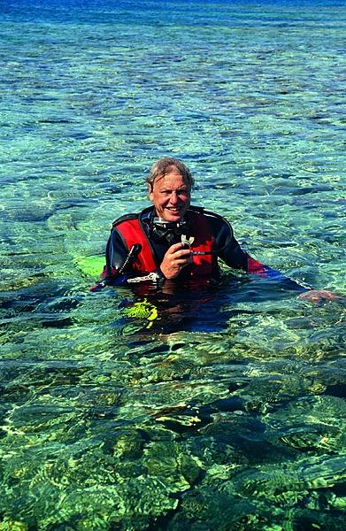 David in 'n duikuitrusting in die vroeë 1990's op