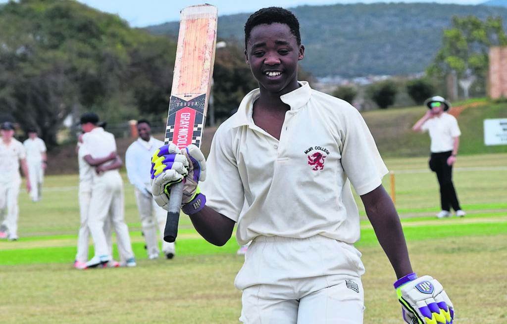 Siphamandla Bashe, from Muir College, acknowledges the crowd after being dismissed for 134 vs Kingswood College during the Bun Hopley Cricket Festival hosted by Muir.      Photo:SUPPLIED