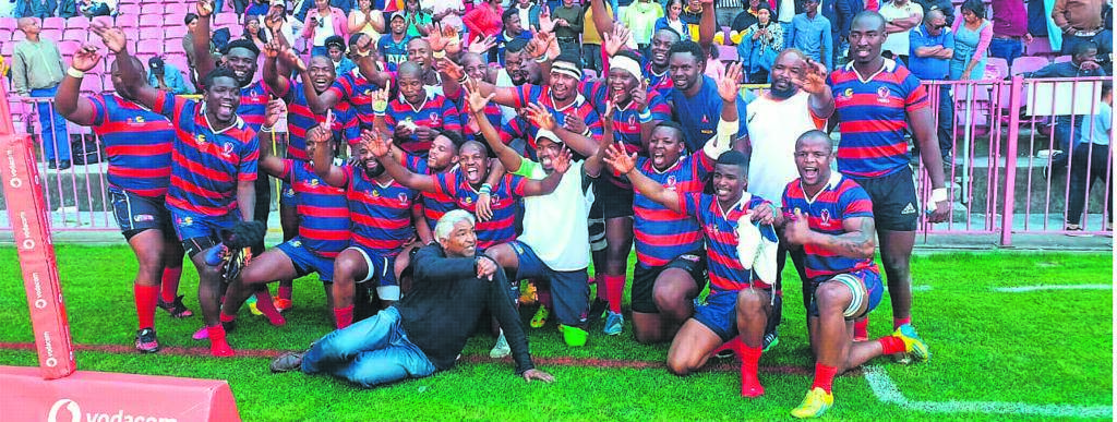 The team of Langa celebrating at Newlands Stadium after they were promoted to Super League B when they beat Scottsdene-Central by 26-14.