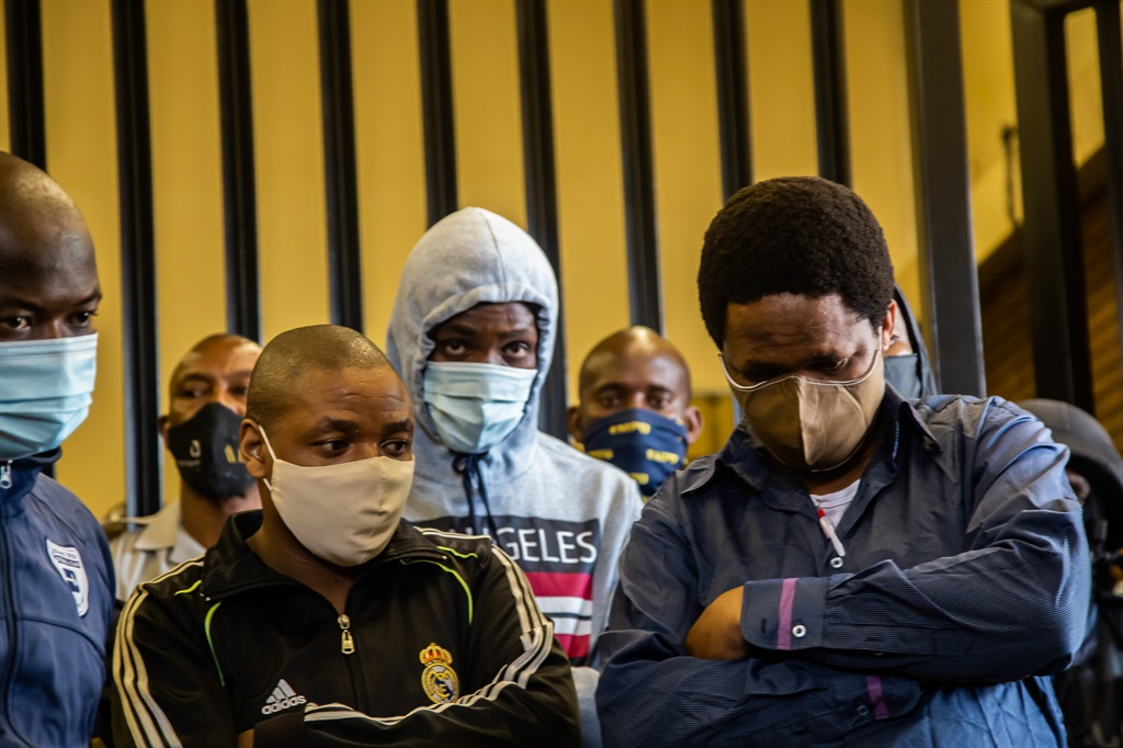 Five suspects in the Senzo Meyiwa murder case appear at Boksburg Magistrate's Court. Photo by Gallo Images/OJ Koloti)