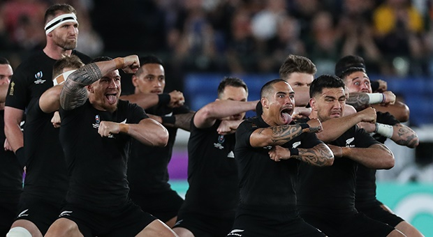 The All Blacks performing the haka