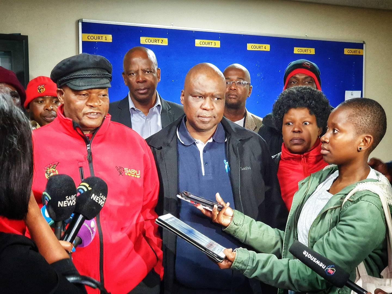 Cosatu's Solly Phetoe  (left) with Sasbo's Joe Kokela on Thursday at the Johannesburg Labour Court. Picture: William Horne