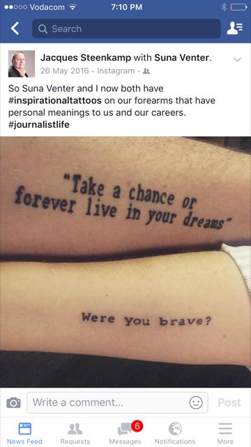 Jacques en Suna het hierdie tatoes tydens die SAUK