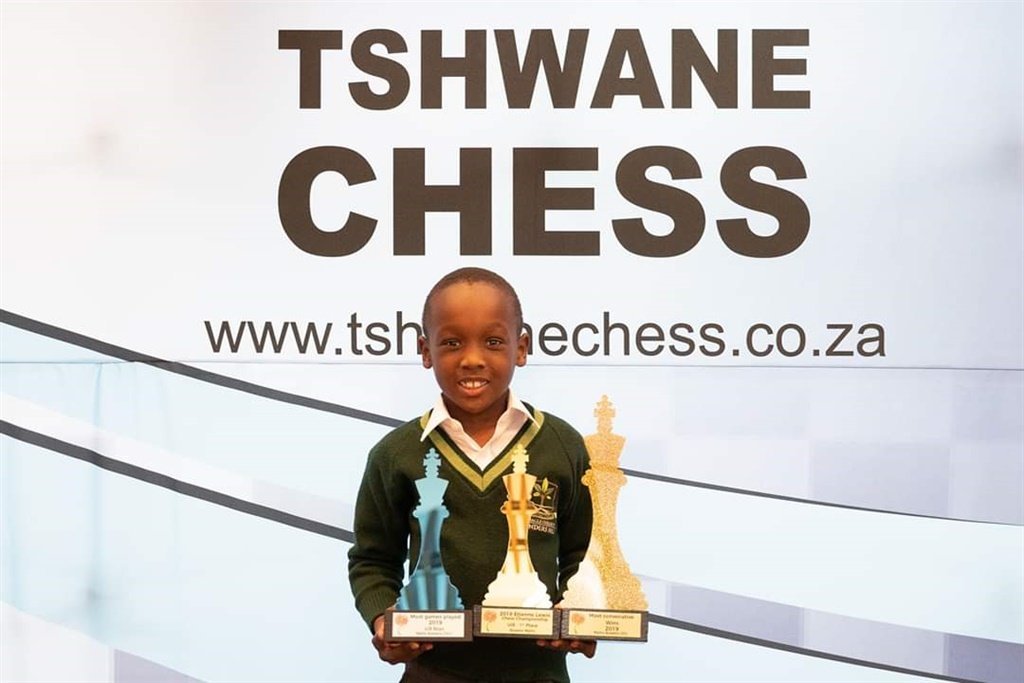 Mpho with his trophies at the Tshwane Chess Merit Awards held at Atterbury Theatre on September 12 .(Supplied)