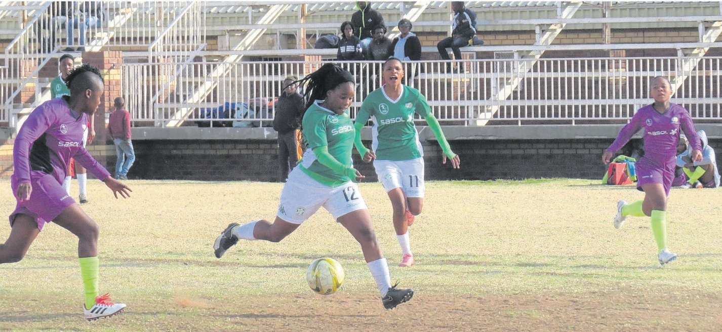Bloemfontein Celtic's women's team players Dineo Moholoholo, front, and Kgalebane Mohlakoana are expected to spearhead their team against the Tshwane University of Technology in the Safa Women's National League fixture on Sunday (06/10). Photo: Teboho Setena.