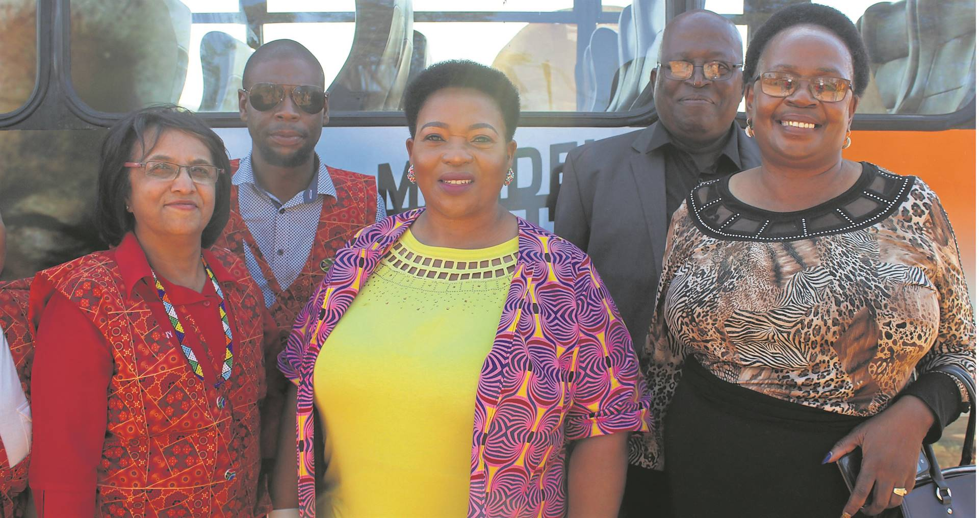 KZN Freedom Route Tour Bus representatives (left) and Economic Development, Tourism and Environmental Affairs MEC Nomusa Dube-Ncube (middle) with locals at the event at the Mandela Capture Site.PHOTOS: NTANDOYENKOSI DLAMINI