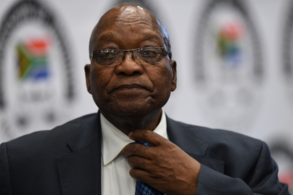 Former president Jacob Zuma before the Zondo Commission in 2019.